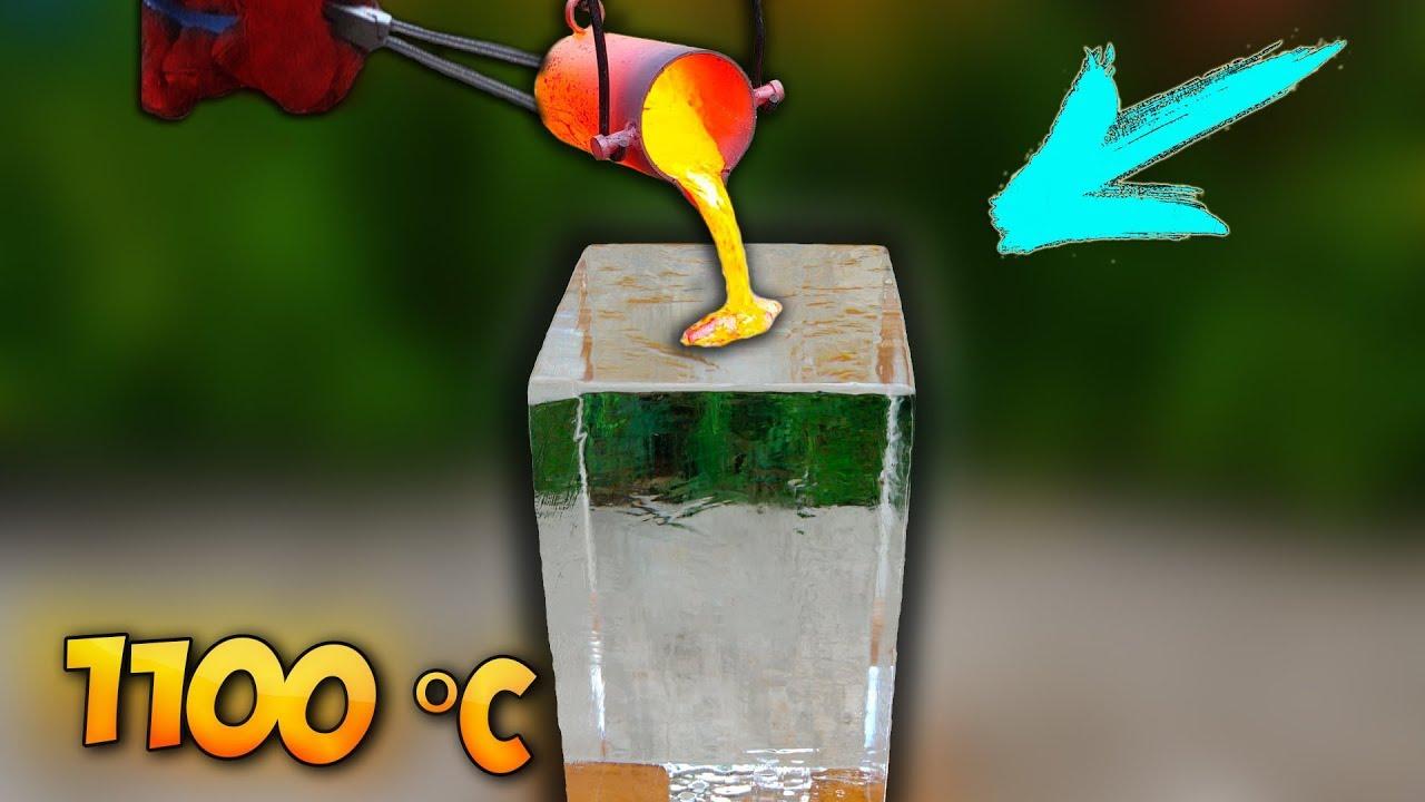 Vaata mida teeb tulikuum metall suure jääkuubikuga