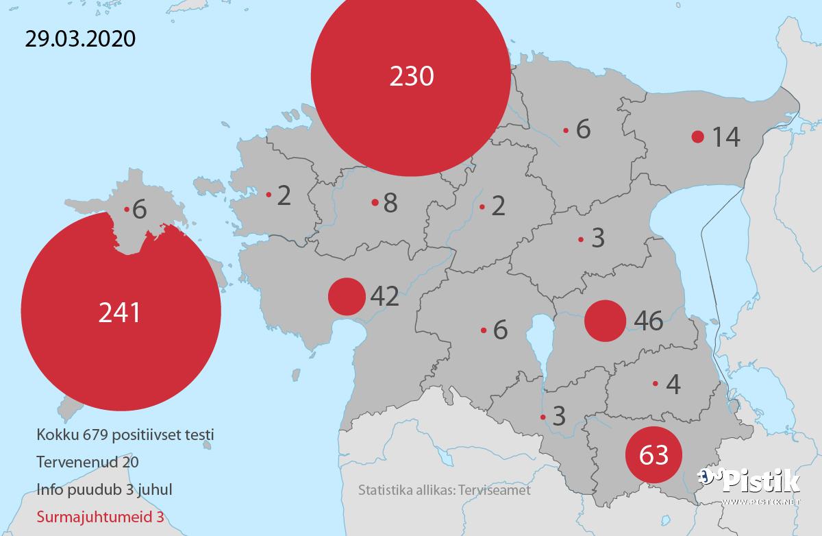 Eesti koroonaviiruse leviku kaart maakonnapõhiselt 29. märtsi seisuga