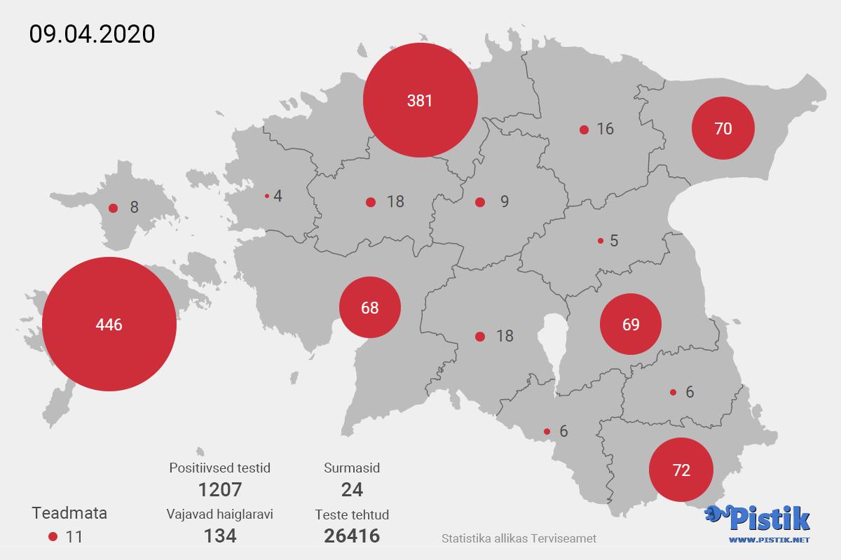 Eesti maakondade koroonaviiruse leviku kaart 9. aprilli seisuga