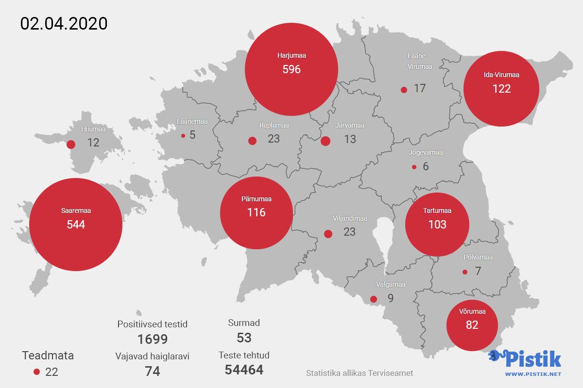 Eesti maakondade koroonaviiruse leviku statistika kaardil 2. mai seisuga
