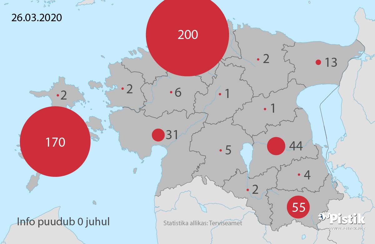 Eesti maakonnapõhise koroonaviiruse leviku kaart 26. märtsi seisuga