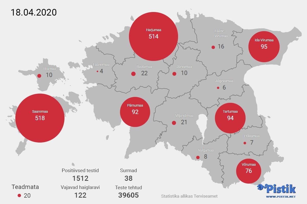 Koroonaviiruse levik Eesti kaardil seisuga 18. aprill 2020
