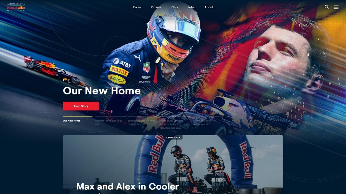 Red Bull vormel-1 meeskonna uuendatud koduleht