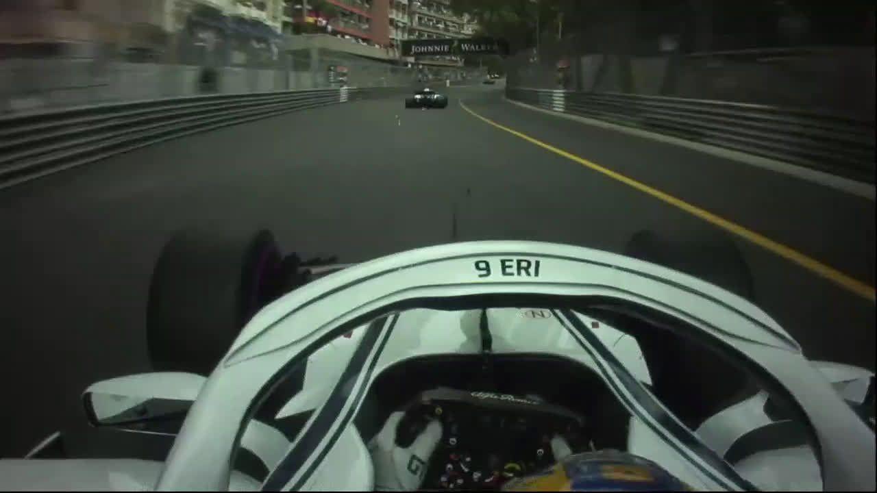 Monaco GP 2018 - sõit, Ericsson sädemetemeres