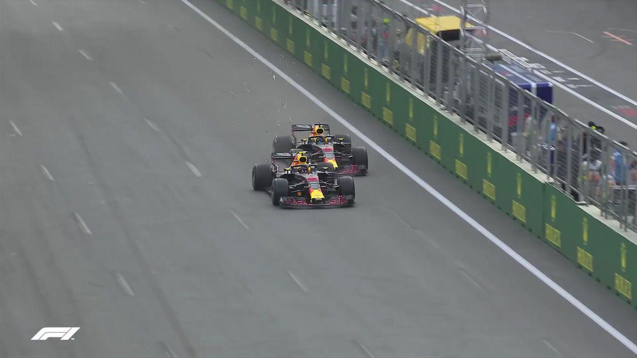 Aserbaidžaani GP 2018 - sõit, Ricciardo ja Verstappeni kokkupõrge, F1